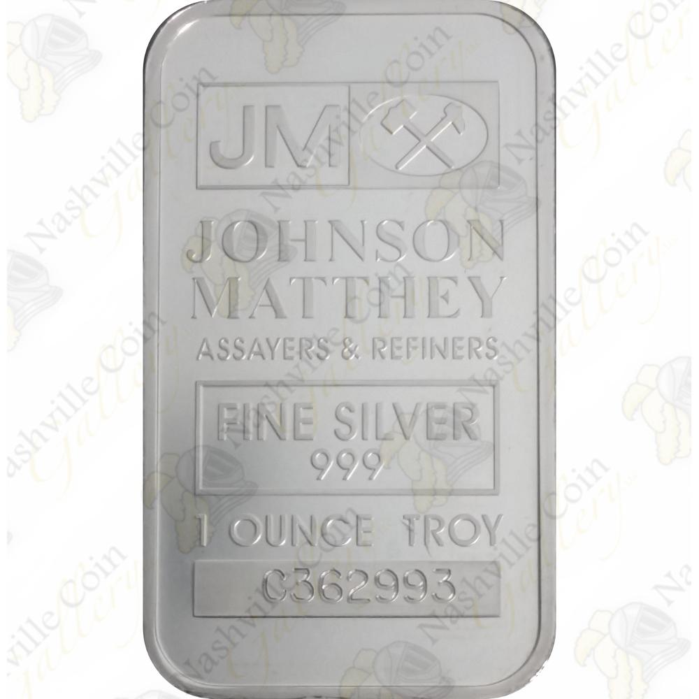 Johnson Matthey 1 Oz 999 Fine Silver Bar Sku 62001