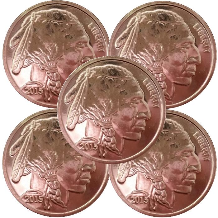 Confident One Ounce Copper Round Buffalo .999 Fine Copper 2016 Bullion